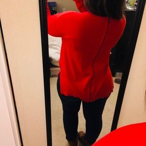 Halogen Sweater With Front Pockets and Back Zipper